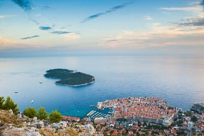 View over Dubrovnik, Lokum Island and Adriatic Sea, Dubrovnik, Dalmatian Coast, Croatia, Europe-Matthew Williams-Ellis-Photographic Print