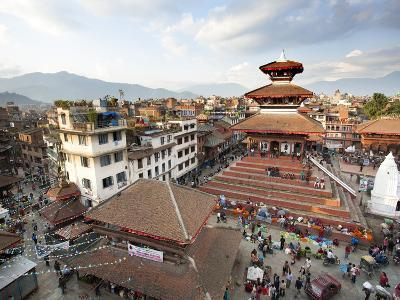 View over Durbar Square from Rooftop Cafe Showing Temples and Busy Streets, Kathmandu, Nepal, Asia-Lee Frost-Photographic Print