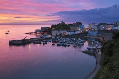 View over Harbour and Castle at Dawn, Tenby, Carmarthen Bay, Pembrokeshire, Wales, UK-Stuart Black-Photographic Print