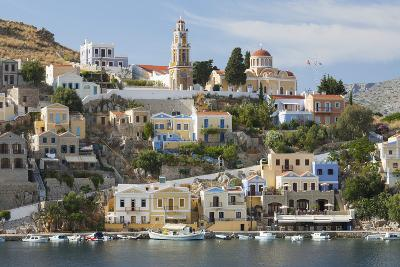 View over Harbour to Colourful Houses and Church, Dodecanese Islands-Ruth Tomlinson-Photographic Print