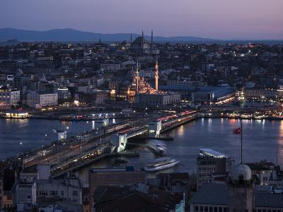 View over Istanbul Skyline from the Galata Tower at Night, Beyoglu, Istanbul, Turkey-Ben Pipe-Photographic Print