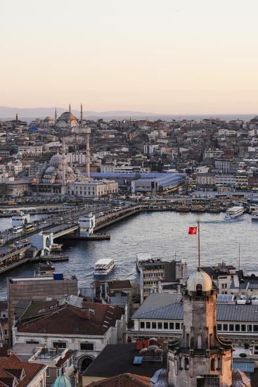 View over Istanbul Skyline from the Galata Tower at Sunset, Beyoglu, Istanbul, Turkey-Ben Pipe-Photographic Print