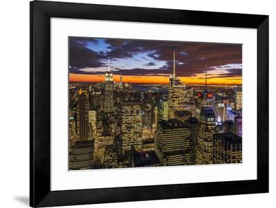 View over Midtown Manhattan skyline at dusk from the Top of the Rock, New York, USA-Stefano Politi Markovina-Framed Photographic Print
