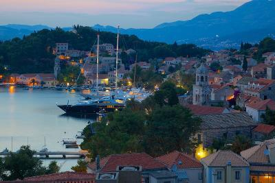 View over Old Town at Dusk, Cavtat, Dubrovnik Riviera, Dalmatian Coast, Dalmatia, Croatia, Europe-Frank Fell-Photographic Print