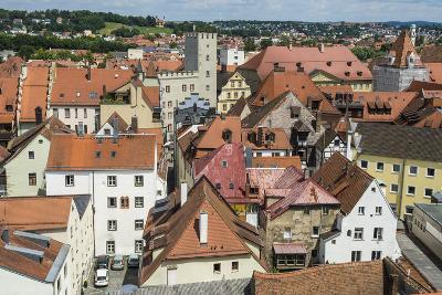 View over Regensburg from the Tower of the Church of the Holy Trinity, Regensburg, Bavaria, Germany-Michael Runkel-Photographic Print