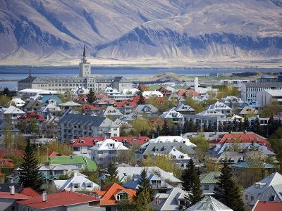 View Over Reykjavik With Mountains Looming in the Distance, Reykjavik, Iceland, Polar Regions-Lee Frost-Photographic Print