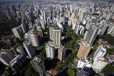 View over Sao Paulo Skyscrapers and Traffic Jam from Taxi Helicopter-Olivier Goujon-Photographic Print