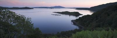 View over Seil Sound to a Salmon Farm and Luing, Slate Islands, Argyll and Bute, Scotland-Peter Thompson-Giclee Print