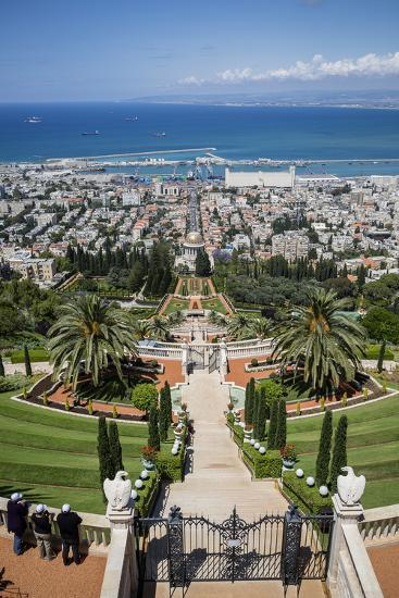 View over the Bahai Gardens, Haifa, Israel, Middle East-Yadid Levy-Photographic Print