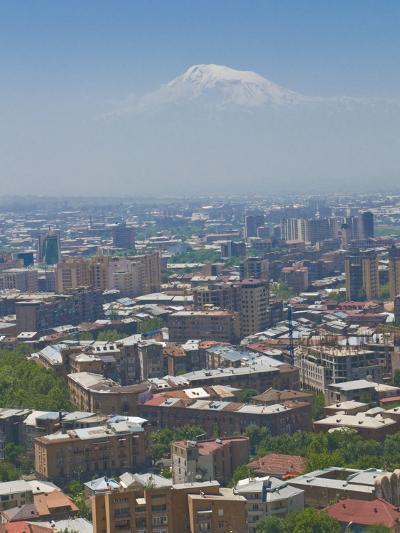 View Over the Capital City, Yerevan, with Mount Ararat in the Distance, Armenia, Caucasus-Michael Runkel-Photographic Print