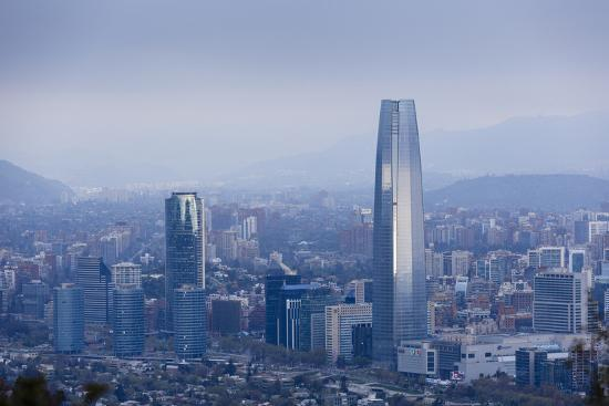 View over the Gran Torre Santiago from Cerro San Cristobal, Santiago, Chile, South America-Yadid Levy-Photographic Print