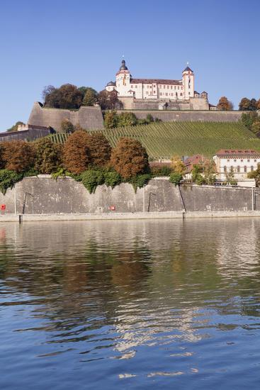 View over the Main River to Marienberg Fortress and St. Burkard Church in Autumn-Markus Lange-Photographic Print