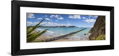 View over the Picturesque Tologa Bay Wharf, Tologa Bay, East Cape, North Island, New Zealand-Doug Pearson-Framed Photographic Print