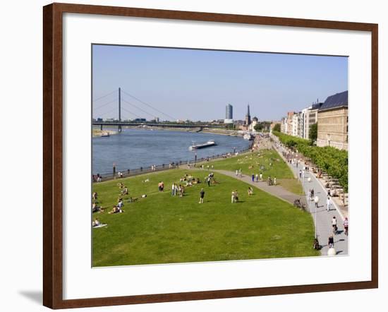 View Over the Rheinuferpromenade Along the River Rhine Towards the Old City, North Rhine Westphalia-Yadid Levy-Framed Photographic Print
