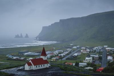 View over the Village of Vik on a Rainy Day, Iceland, Polar Regions-Yadid Levy-Photographic Print