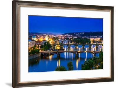View over the Vltava River and Bridges in Prague-David Ionut-Framed Photographic Print
