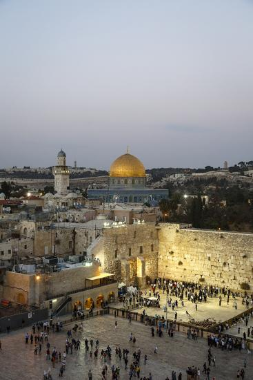 View over the Western Wall (Wailing Wall) and the Dome of the Rock Mosque, Jerusalem, Israel-Yadid Levy-Photographic Print