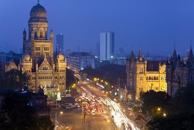 View over Victoria Terminus and Central Mumbai at Dusk, Mumbai, India-Peter Adams-Photographic Print