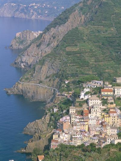View Over Village of Riomaggiore, Cinque Terre, Unesco World Heritage Site, Liguria, Italy-Bruno Morandi-Photographic Print