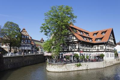 View over Wehrneckarkanal Chanel to Schwoerhaus House and Castle-Markus Lange-Photographic Print