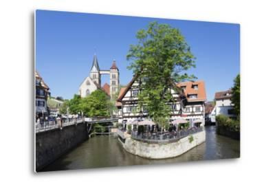 View over Wehrneckarkanal Chanel to St. Dionysius Church (Stadtkirche St. Dionys)-Markus Lange-Metal Print