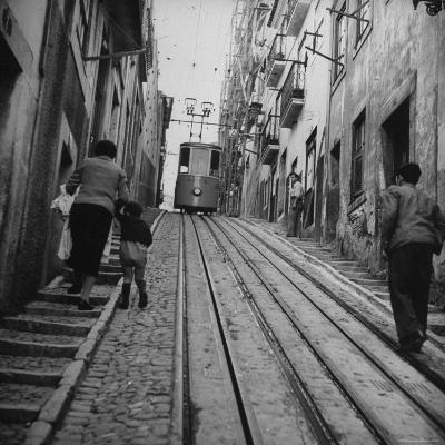 View Showing a Typical Street Scene in Lisbon-Bernard Hoffman-Photographic Print