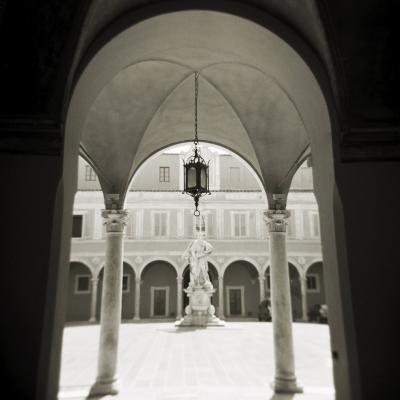 View Through Archways into Sunlit Courtyard, Pisa, Tuscany, Italy-Lee Frost-Photographic Print