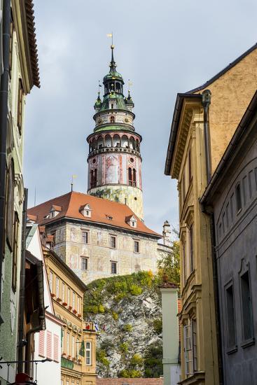 View Through the Gothic House Facades to the Krumlov Castle, Cesky Krumlov, Czech Republic, Europe-Michael Runkel-Photographic Print