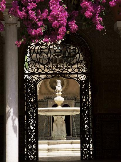 View Through Wrought Iron Gateway to the Patio Principal, Andalucia (Andalusia), Spain-Ruth Tomlinson-Photographic Print