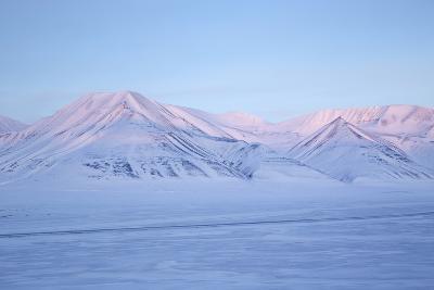 View Towards Dirigenten Mountain and Tenoren across Adventdalen Valley at Sunset-Stephen Studd-Photographic Print