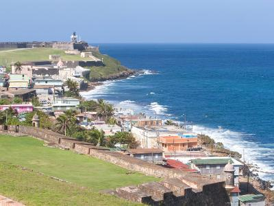 View towards El Morro from Fort San Cristobal in San Juan, Puerto Rico-Jerry & Marcy Monkman-Photographic Print