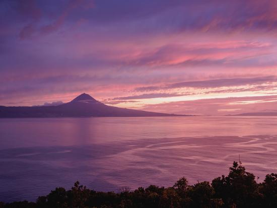 View towards the Pico Island at sunset, Sao Jorge Island, Azores, Portugal, Atlantic, Europe-Karol Kozlowski-Photographic Print