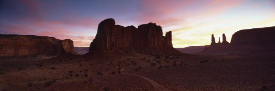 View Towards the Three Sisters at Dusk, Monument Valley Tribal Park, Arizona, USA-Lee Frost-Photographic Print