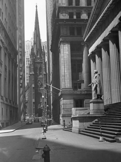 View Up Wall St. of Trinity Church, New York-George Marks-Photographic Print