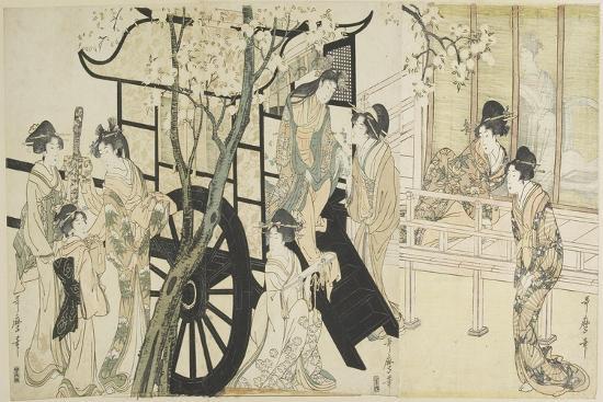 (Viewing Cherry Blossoms Likened to an Imperial Carriage Scene), C. 1798-Kitagawa Utamaro-Giclee Print