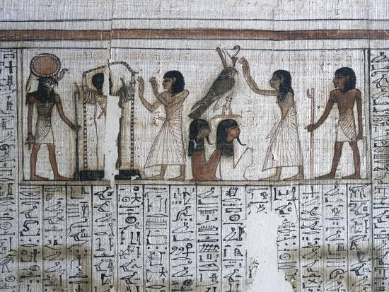 Vignette from the Book of the Dead of Neferrenpet, Ancient Egyptian, 19th dynasty, 1295-1186 BC-Werner Forman-Photographic Print