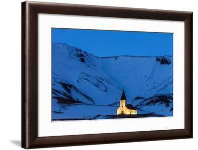 Vik I Myrda Church Lit Up at Dusk in Vik, Iceland-Chuck Haney-Framed Photographic Print