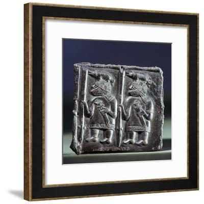 Viking bronze matrix used in the manufacture of helmet plaques, Uppland, Sweden, 7th century-Werner Forman-Framed Photographic Print