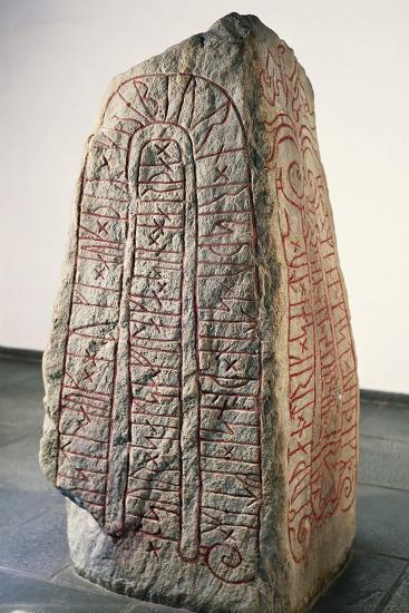 Viking Civilization, Runestone with Futhark Inscription--Giclee Print