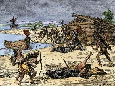 Viking Expedition Leader Thorwald Fatally Wounded by Natives on the Coast of Canada, 1002 AD--Giclee Print