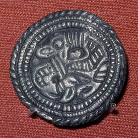 Viking pewter disc-brooch, 10th century. Artist: Unknown-Unknown-Giclee Print