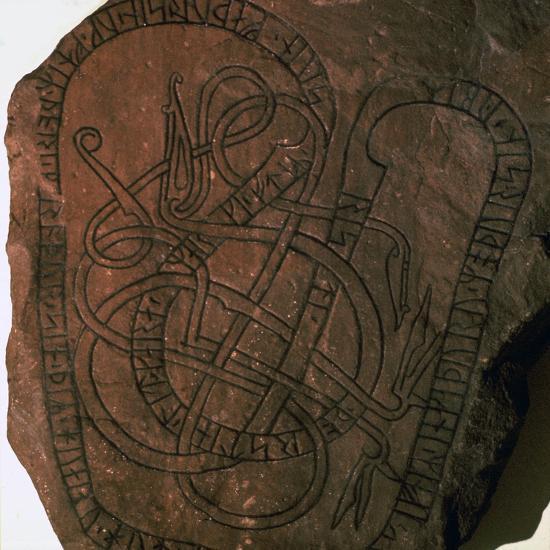 Viking runes on a gravestone. Artist: Unknown-Unknown-Giclee Print