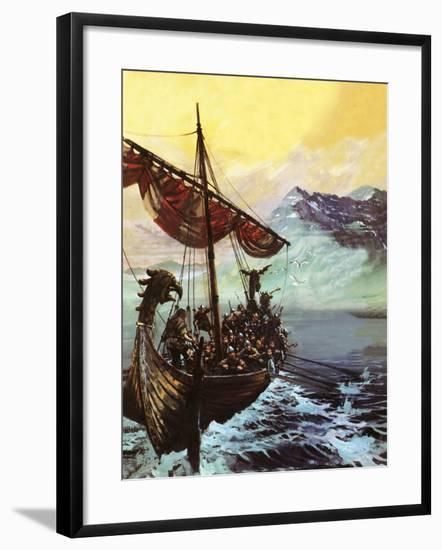 Viking Ship-English School-Framed Giclee Print