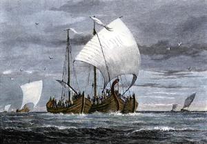 Viking Ships at Sea with Warriors on Board