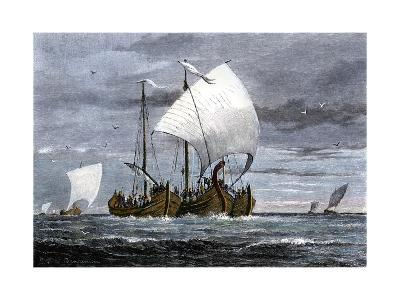 Viking Ships at Sea with Warriors on Board--Giclee Print