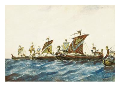 Viking Ships Of The King Olaf I Of Norway (995 1000) Art Print By | Art.com