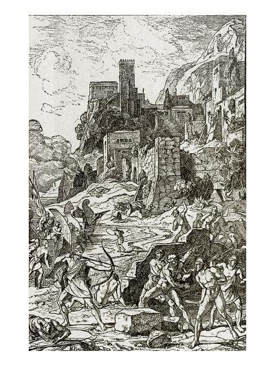 Vikings Attacking the Celts, Illustration from 'The Story of Man' by J.W. Buel (Litho)--Giclee Print