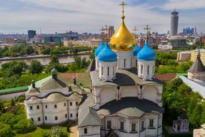 Russia, Moscow, May 2013 - View of Moscow from the Bell Tower of the Novospassky Monastery. Moscow by viktoriagam