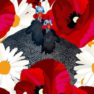 Abstract Draw Rooster Hen, Floral Background (Daisy, Red Poppy), Black White Polka Dots, Seamless P by Viktoriya Panasenko