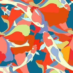 Abstract Illustration Fish Koi (Japanese, Chinese Carp) in Pond with Floral Colorful Algae (The Col by Viktoriya Panasenko